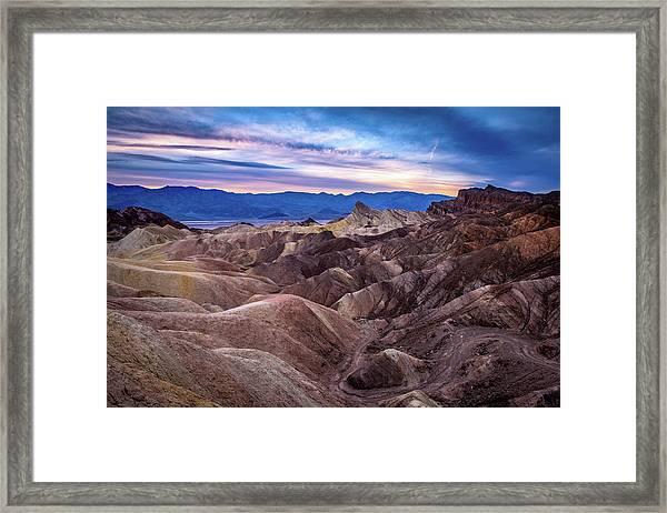 Sunset At Zabriskie Point In Death Valley National Park Framed Print