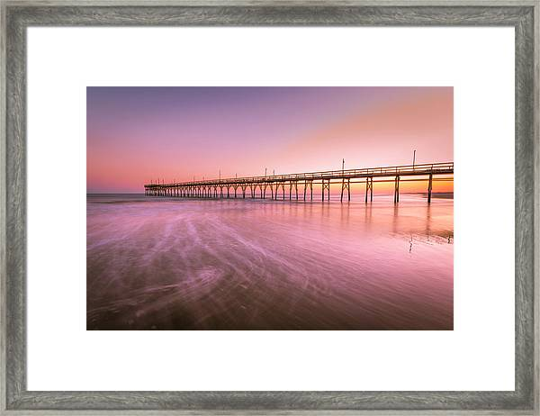 Framed Print featuring the photograph Sunset Beach Fishing Pier In The Carolinas At Sunset by Ranjay Mitra
