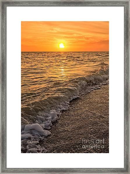 Sunset Bowman Beach Sanibel Island Florida  Framed Print