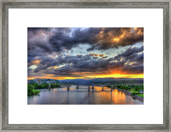 Sunset Bridges Of Chattanooga Walnut Street Market Street Framed Print