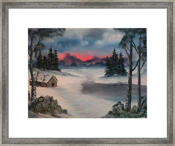 Sunset By The Lake Framed Print