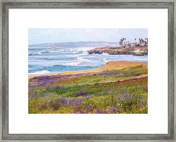 Sunset Cliffs In Spring Framed Print