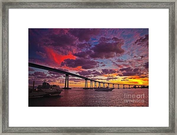 Sunset Crossing At The Coronado Bridge Framed Print