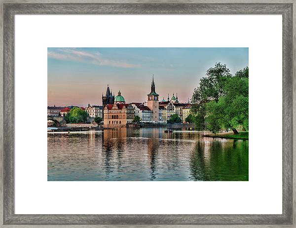 Sunset Cruise Prague Framed Print