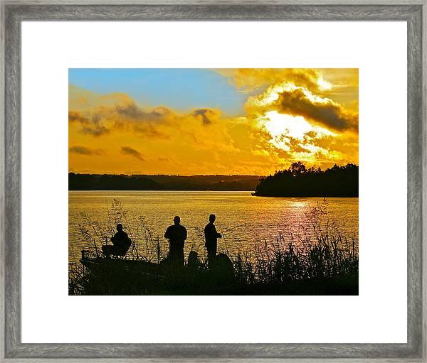 Sunset Fishermen Smith Mountain Lake Framed Print