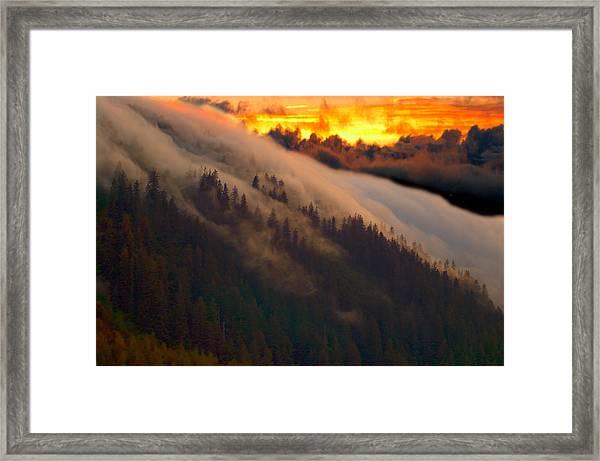 Sunset Fog Framed Print
