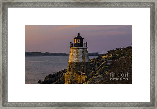 Sunset From Castle Hill Lighthouse. Framed Print