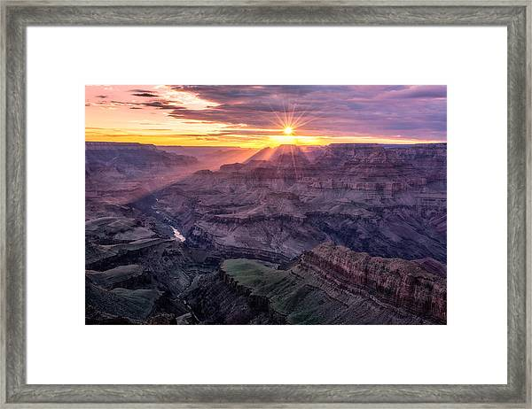 Framed Print featuring the photograph Sunset From Lipan Point by Claudia Abbott