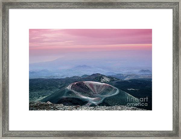 Sunset From The Top Of The Etna Framed Print