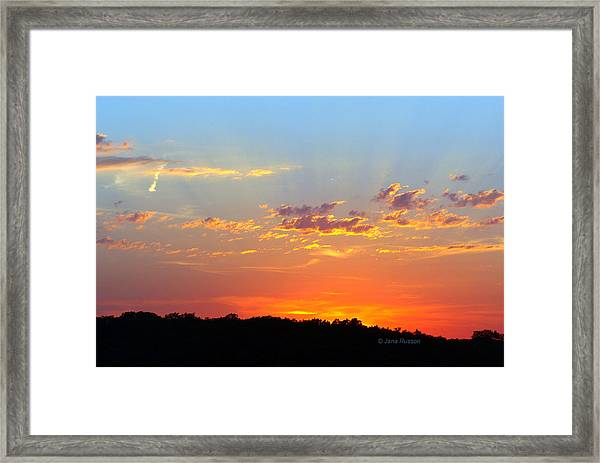 Sunset Glory Orange Blue Framed Print