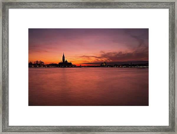 Sunset Over The Grand Canal, Venice. Framed Print