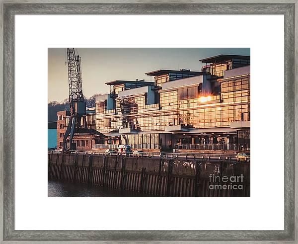Sunset In Altona Hamburg Framed Print