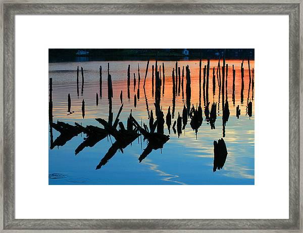 Sunset In Colonial Beach Virginia Framed Print
