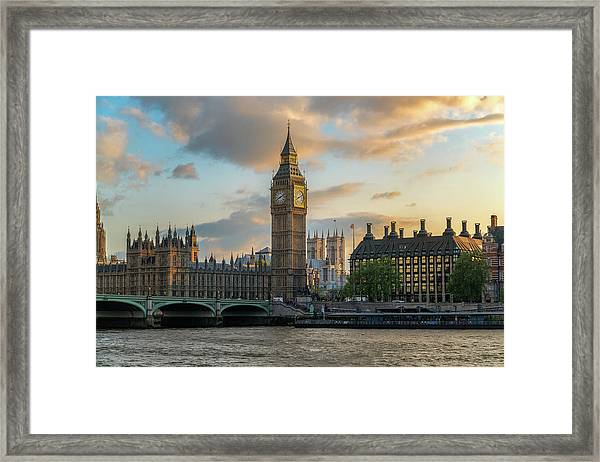 Sunset In London Westminster Framed Print