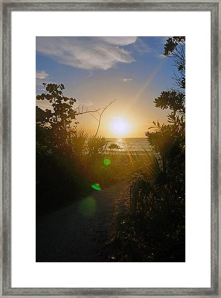 Sunset In Naples At Barefoot Beach Framed Print