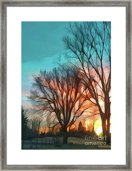Sunset In The Country Framed Print