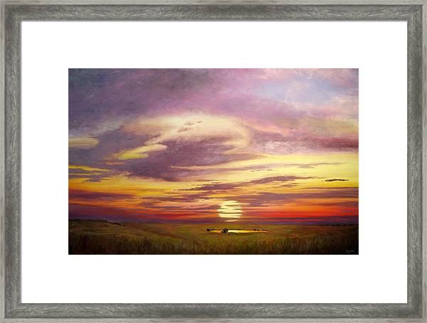 Sunset In The Flint Hills Framed Print