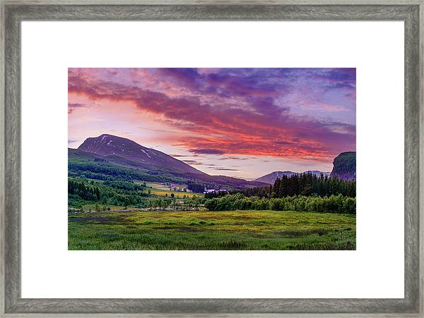 Sunset In The Meadow Framed Print