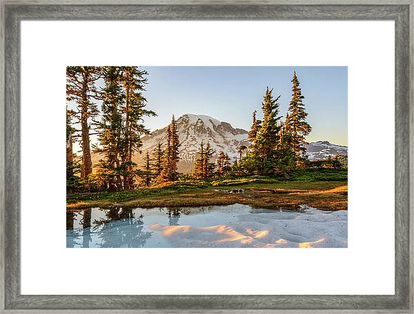 Sunset In The Pinnacle Saddle Framed Print