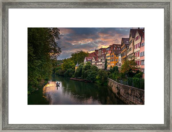 Sunset In Tubingen Framed Print