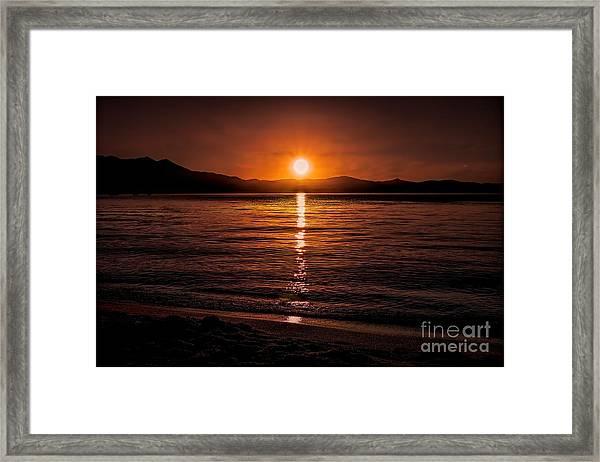 Sunset Lake 810pm Textured Framed Print