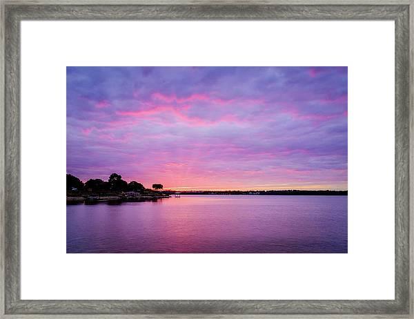 Sunset Lake Arlington Texas Framed Print