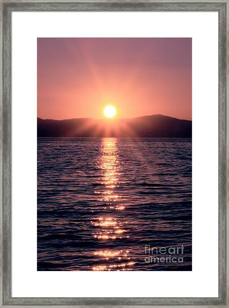 Sunset Lake Verticle Framed Print