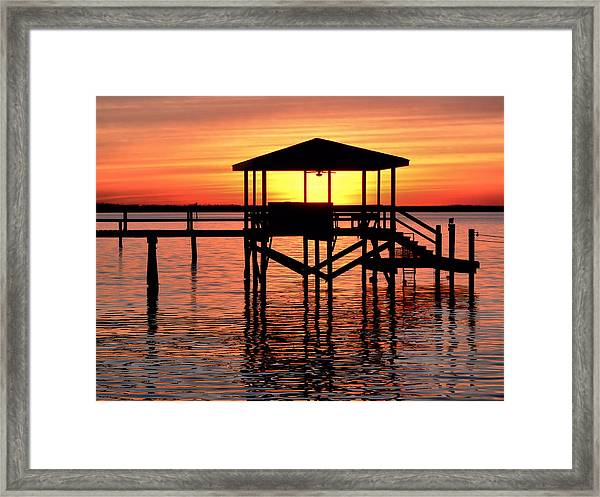 Sunset Lit Pier Framed Print