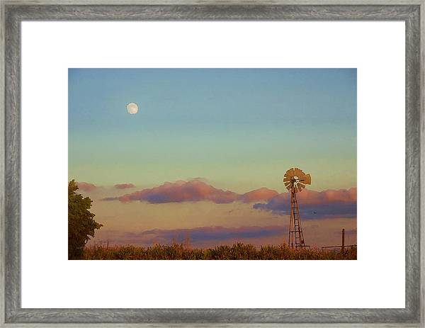 Sunset Moonrise With Windmill  Framed Print