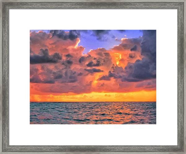 Sunset Off Tahiti Framed Print