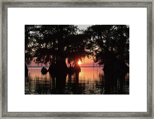 Sunset On A Louisiana Cypress Swamp Framed Print