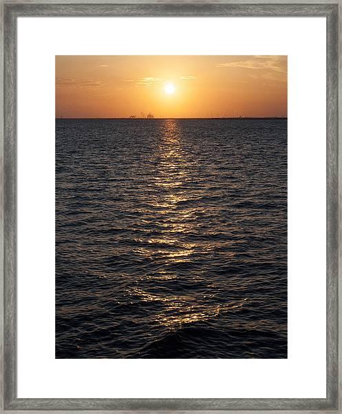 Sunset On Bay Framed Print