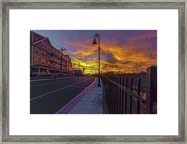 Sunset On Eliot St Milton Ma Framed Print