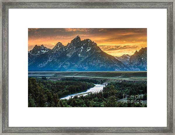 Sunset On Grand Teton And Snake River Framed Print