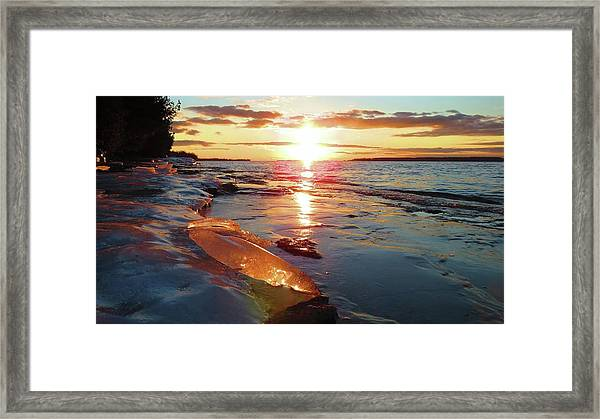 Sunset On Ice Framed Print