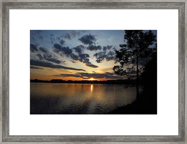 Sunset On Lake Quannapowitt Framed Print