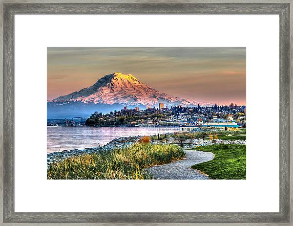 Sunset On Mt Rainier And Point Ruston Framed Print