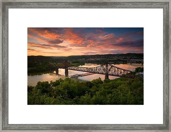 Sunset On Ohio River  Framed Print