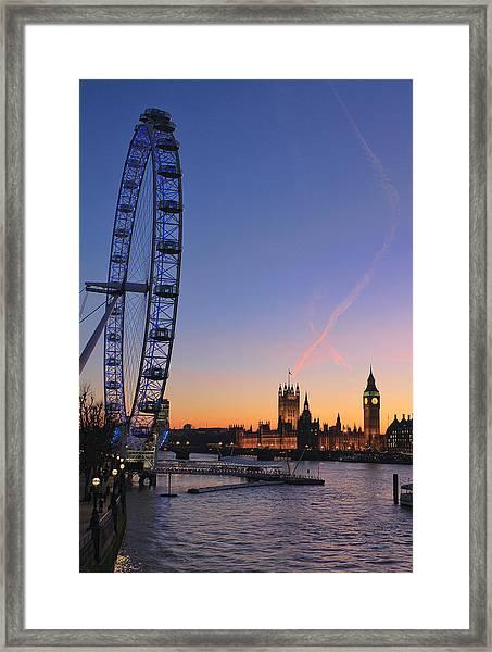 Sunset On River Thames Framed Print