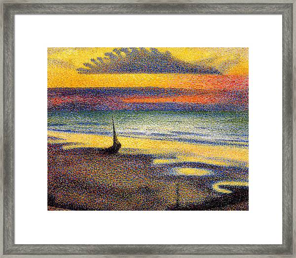Sunset On The Beach 1891 Framed Print