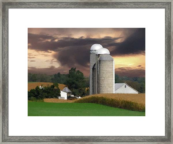Framed Print featuring the photograph Sunset On The Farm by David Dehner