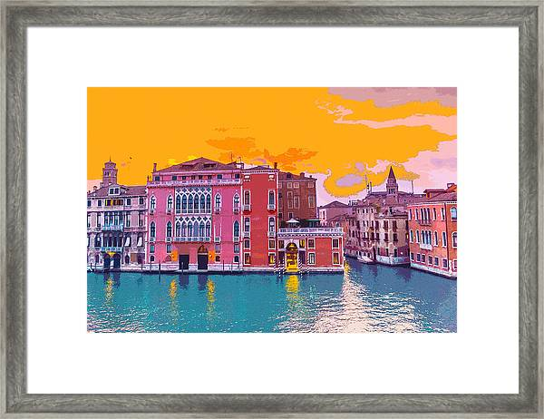 Sunset On The Grand Canal Venice Framed Print
