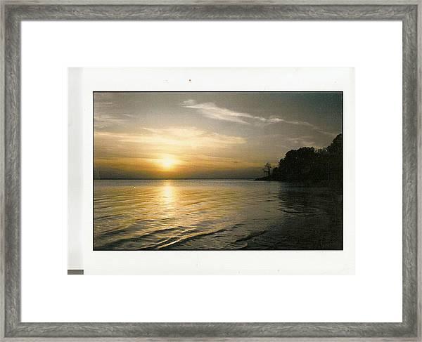 Sunset On The James Framed Print by Anne-Elizabeth Whiteway