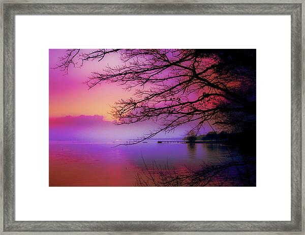 Sunset On The Lake Framed Print