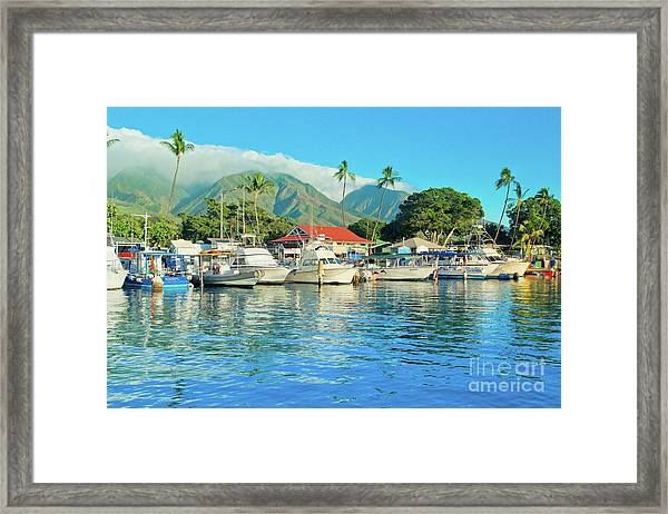 Sunset On The Marina Lahaina Harbour Maui Hawaii Framed Print