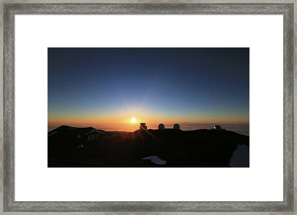 Sunset On The Mauna Kea Observatories Framed Print