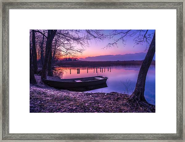 Sunset On The White Lake Framed Print