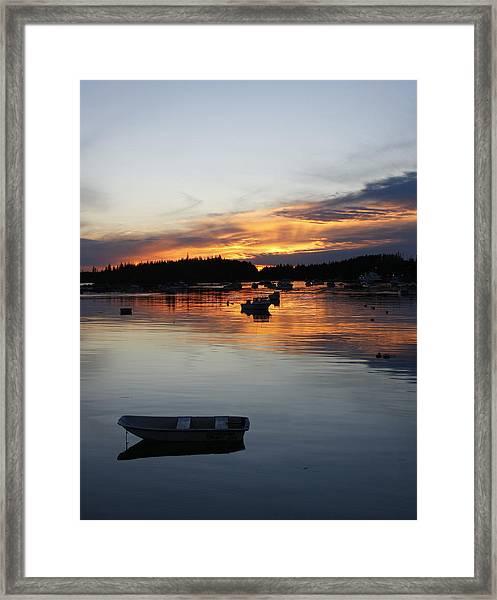 Sunset On Vinalhaven Maine Framed Print