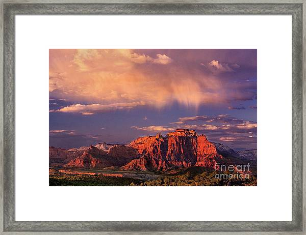 Sunset On West Temple Zion National Park Framed Print