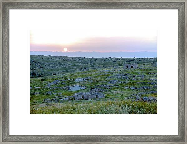 Sunset Over A 2000 Years Old Village Framed Print